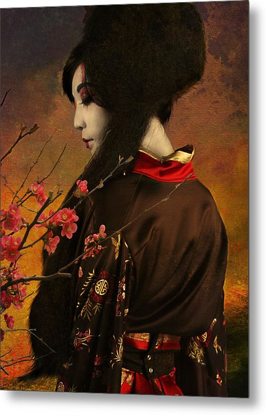 Geisha With Quince - Revised Metal Print