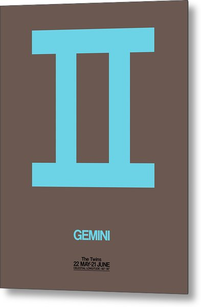 Gemini Zodiac Sign Blue Metal Print