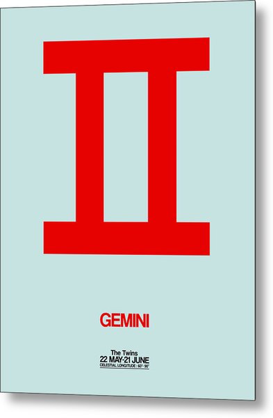 Gemini Zodiac Sign Red Metal Print