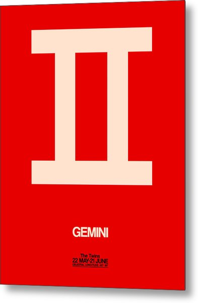 Gemini Zodiac Sign White On Red Metal Print