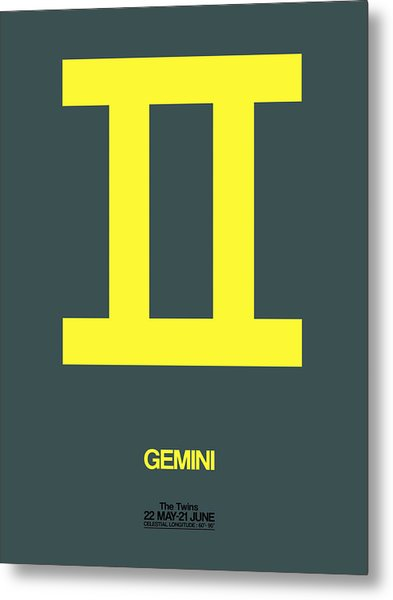 Gemini Zodiac Sign Yellow Metal Print