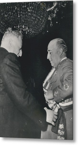 General Franco Decorated. Receives Garsnd Of The Omeyas - Metal Print by Retro Images Archive