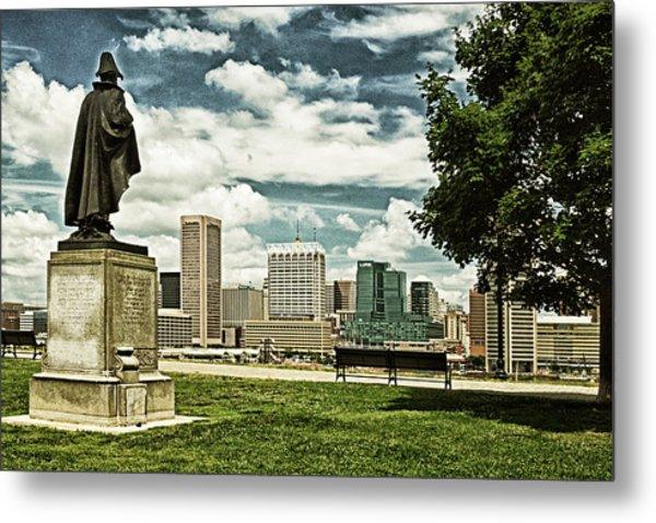 General Smith Overlooks Baltimore Harbor Metal Print