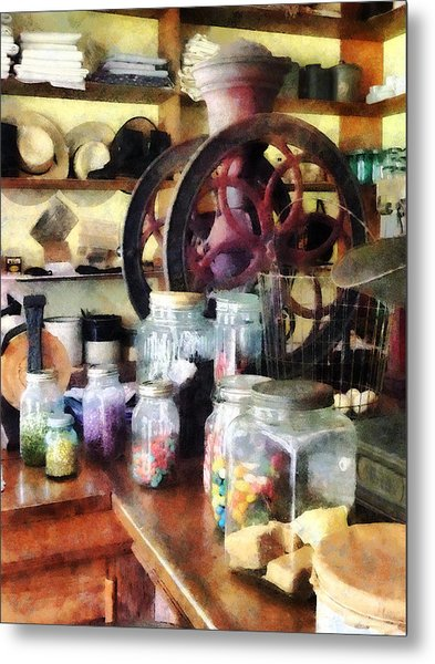 General Store With Candy Jars Metal Print by Susan Savad