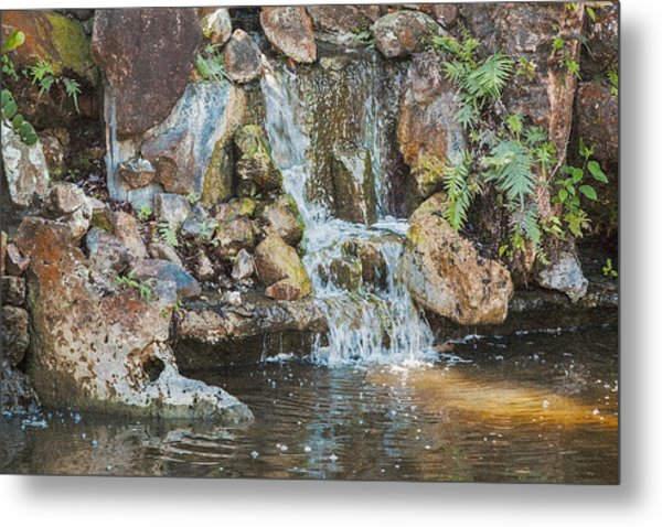 Metal Print featuring the photograph Gentle Waterfall With Sunbeam by David Coblitz