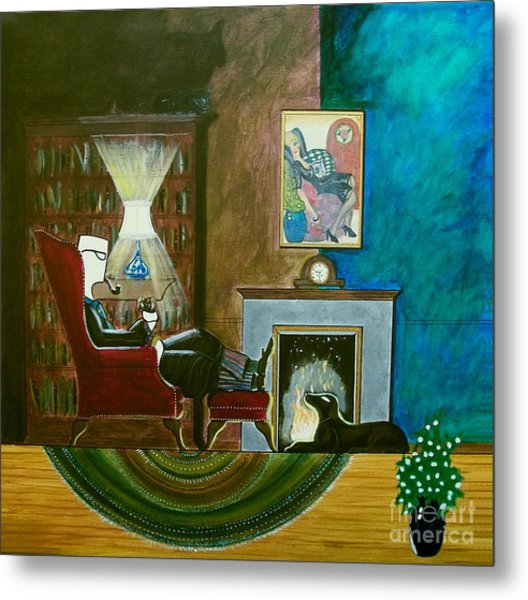 Gentleman Sitting In Wingback Chair Enjoying A Brandy Metal Print