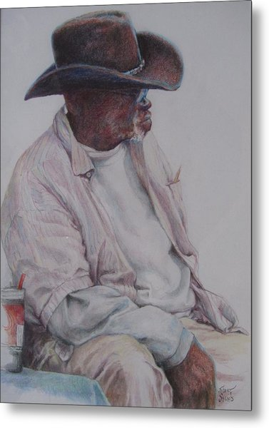 Gentleman Wearing The Dark Hat Metal Print