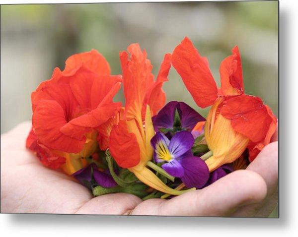 Gently Held Flowers Metal Print by Carolyn Reinhart
