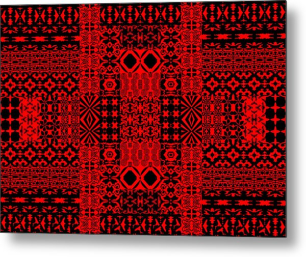 Geometric Abstract In Red Metal Print