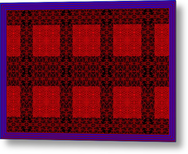 Geometric Abstract Stereo In Red Metal Print