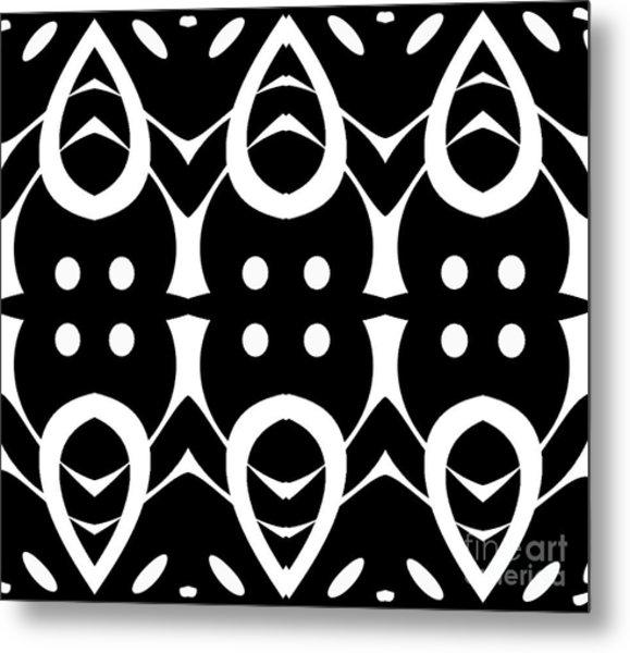 Geometric Black White Pattern Art Print No.282. Metal Print by Drinka Mercep