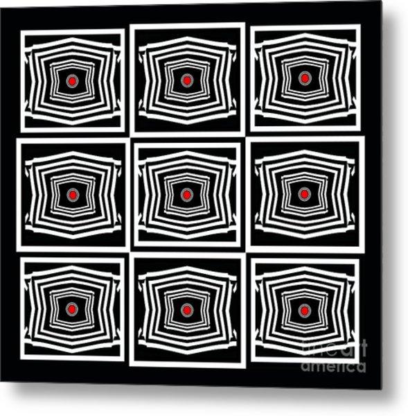 Geometric Op Art Black White Red Digital Abstract Print No.378. Metal Print by Drinka Mercep