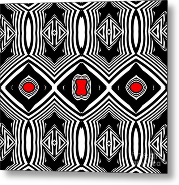 Pattern Black White Red Op Art No.389. Metal Print by Drinka Mercep