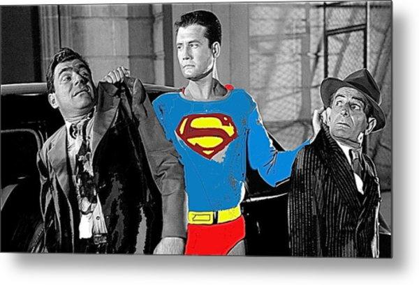 George Reeves As Superman In His 1950's Tv Show Apprehending Two Bad Guys 1953-2010 Metal Print