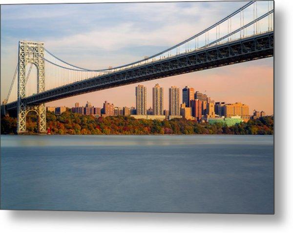 George Washington Bridge In Autumn Metal Print