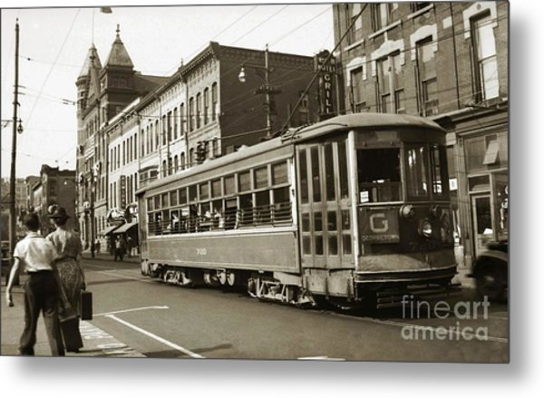Georgetown Trolley E Market St Wilkes Barre Pa By City Hall Mid 1900s Metal Print