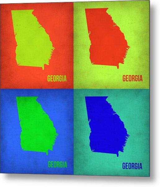 Georgia Pop Art Map 1 Metal Print