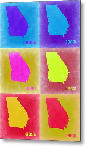Georgia Pop Art Map 2 Metal Print