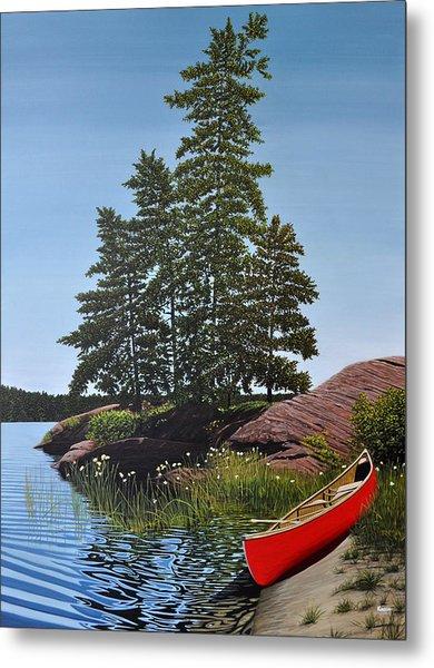 Georgian Bay Beached Canoe Metal Print