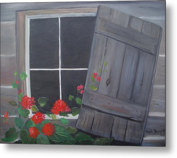 Geraniums At Log Cabin Metal Print by Glenda Barrett