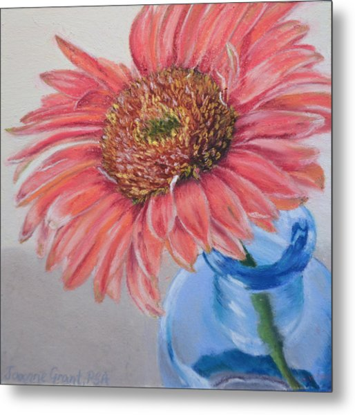 Gerbera Daisy With Blue Glass Metal Print