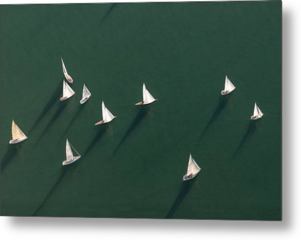 Germany, Baden-wuerttemberg, Lake Constance, Friedrichshafen, Aerial View Of Sailing Boats Metal Print by Westend61