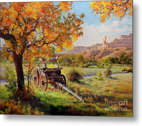 Ghost Ranch Old Wagon Metal Print