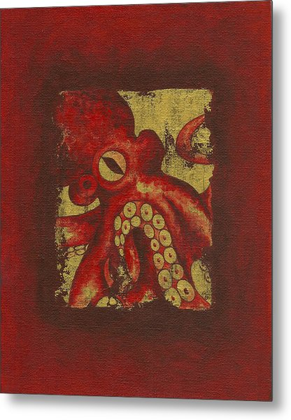 Giant Red Octopus Metal Print