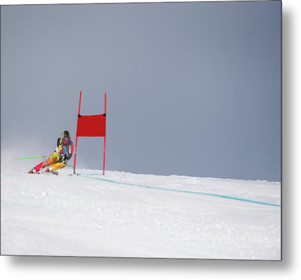 Giant Slalom Skier Rounds Gate At High Metal Print