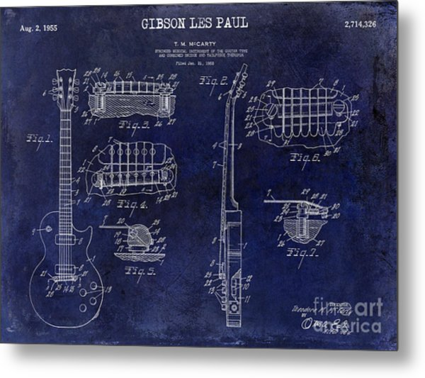 Gibson Les Paul Patent Drawing Blue Metal Print