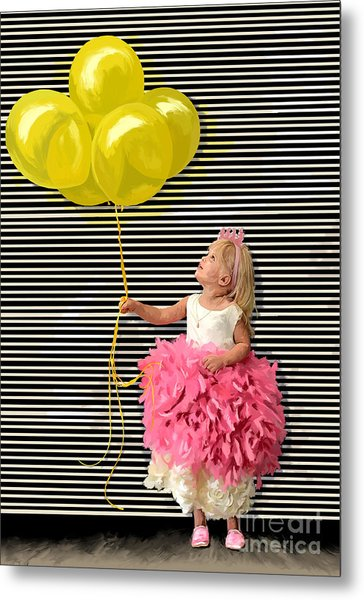 Gillian With Yellow Balloons Metal Print