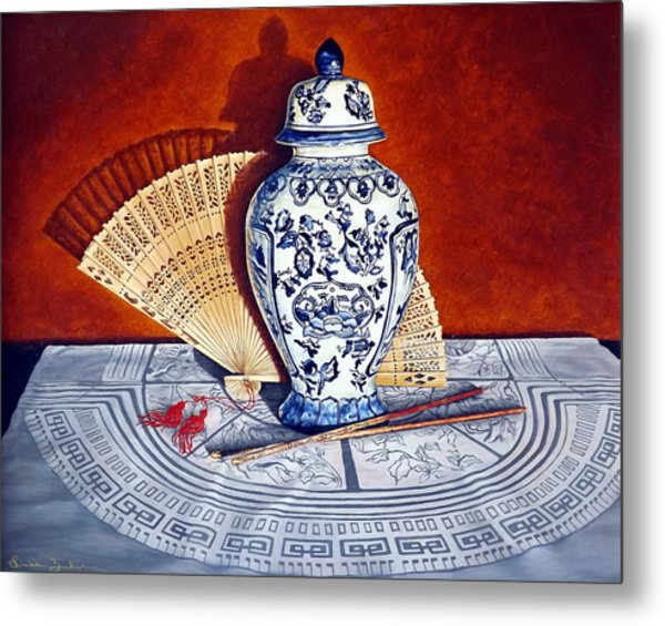 Ginger Jar And Fan Metal Print