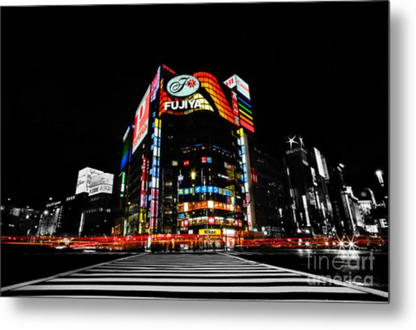 Ginza At Night Metal Print