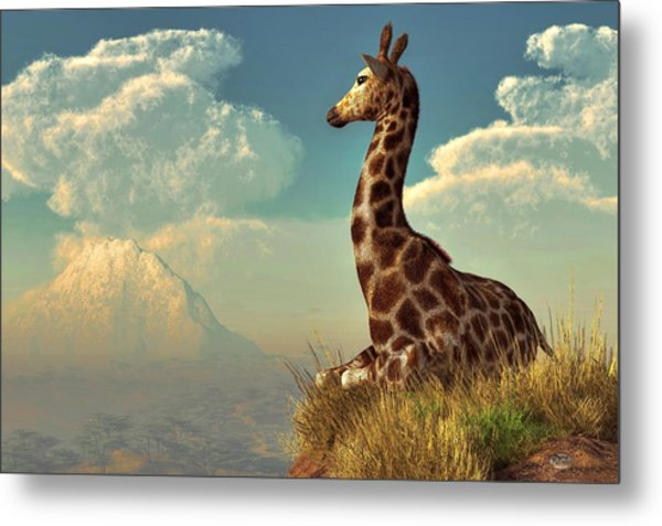 Giraffe And Distant Mountain Metal Print