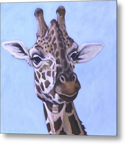 Giraffe Eye To Eye Metal Print