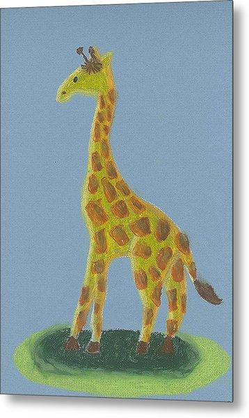Giraffe Gazing Metal Print by Fred Hanna