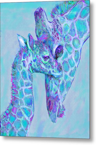 Giraffe Shades  Purple And Aqua Metal Print