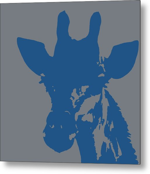 Giraffe Silhouette Grey Blue Metal Print