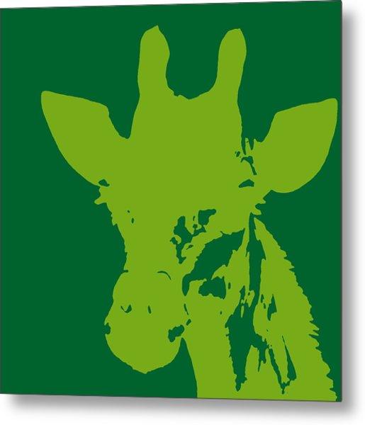 Giraffe Silhouette Lime Green Metal Print