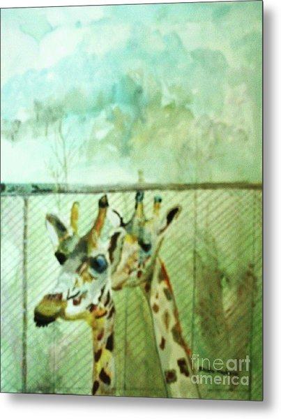 Giraffe World Metal Print