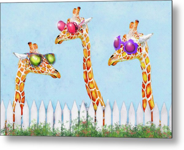Giraffes In Sunglasses Metal Print