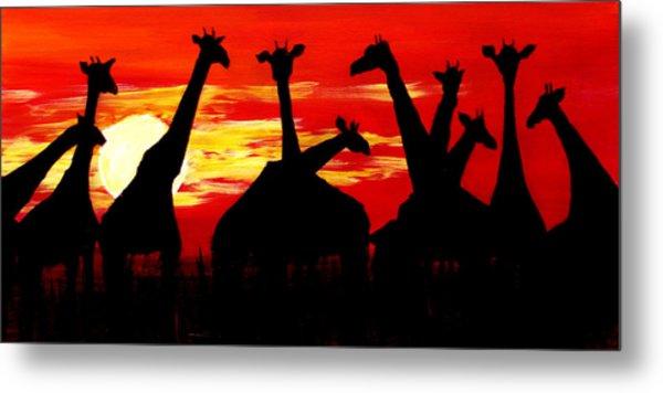 Giraffes Sunset Africa Serengeti Metal Print