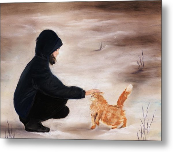 Girl And A Cat Metal Print