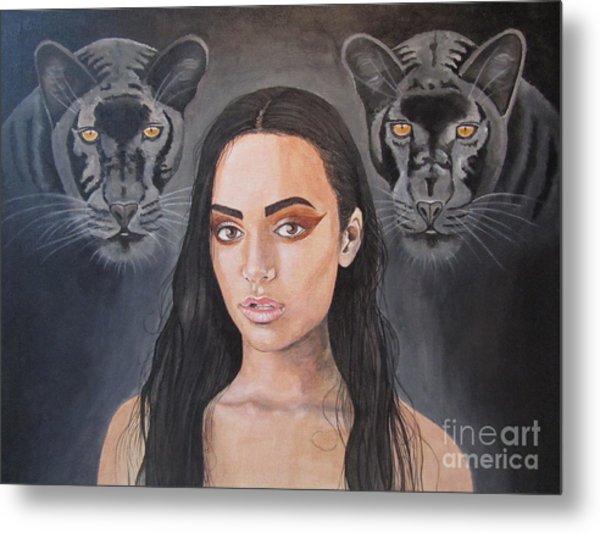 Girl And Panther Metal Print