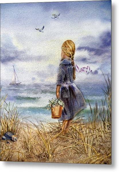 Girl And The Ocean Metal Print