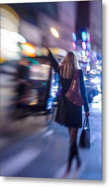 Girl Catching A Taxi In Manhattan Metal Print