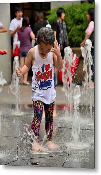 Girl Child Plays With Water At Fountain Singapore Metal Print