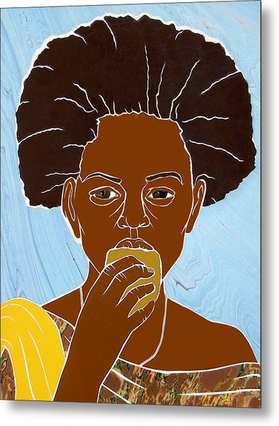 Girl Eating Mango Metal Print