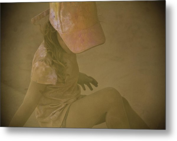 Girl In A Dust Storm Metal Print by Debbie Cundy