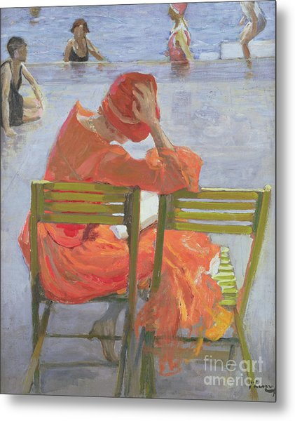 Girl In A Red Dress Reading By A Swimming Pool Metal Print